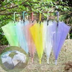 Cute Transparent Umbrellas Rain Sun Men Women Sliding Long H