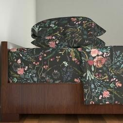 Dark Floral Jumbo Extra Large Floral 100% Cotton Sateen Shee