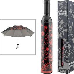 Decorative Floral Red and Black Wine Bottle Umbrella for Sun