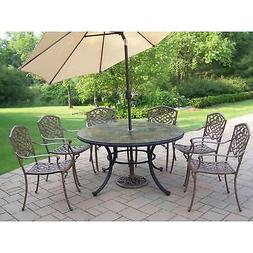 Dining Set with Stone Top Table, 6 Chairs, Beige Umbrella an