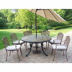 Dining Set with Stone Top Table, Cushioned Chairs, Umbrella