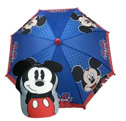 Disney Junior Mickey Mouse Boys Red and Blue Umbrella w/Base