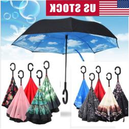C-shaped Double Umbrella Self Stand Upside-down Layer Foldin