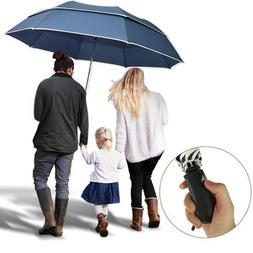 Double Golf Umbrella Large Folding Semi Automatic Windproof