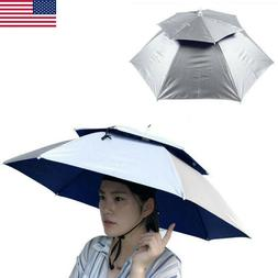 Double Layer Folding Compact UV Wind Protection Umbrella Hat