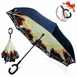 ZOMAKE Double Layer Inverted Umbrella Cars Reverse Umbrella,