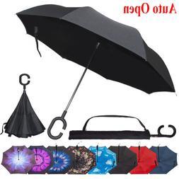 Double Layer Inverted Umbrella Reverse Folding Windproof Car