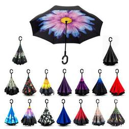 C-Handle Upside Down-Reverse Double Layer Umbrella Windproof