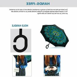 Double Layer Inverted Umbrella with C-Shaped Handle Anti-UV
