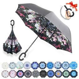 ZOMAKE Double Layer Inverted Umbrellas for Women, Reverse Fo