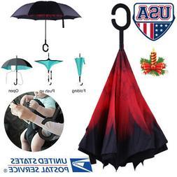 Double Layer Umbrella C-Handle Windproof Folding Inverted Up