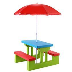 Costzon Easy Store Large Picnic Table with Umbrella Garden Y
