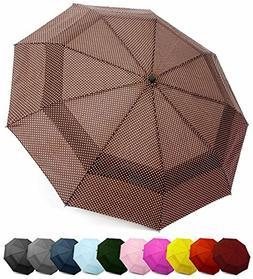 EEZ-Y Compact Travel Umbrella w/Windproof Double Canopy Cons