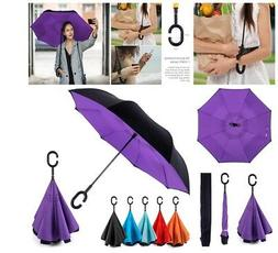 EEZ-Y Reverse Inverted Windproof Light Upside Down Umbrellas