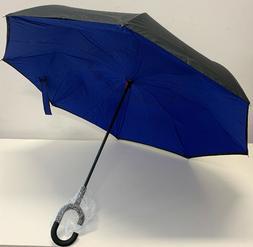EEZ-Y Reverse Inverted Windproof Umbrella Upside Down Black/