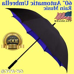 "Extra Large 60"" Automatic Open Golf Stick Umbrella Windproof"
