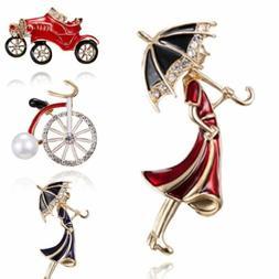 Fashion Bicycle Car Girl umbrella Pearl Rhinestone Brooch Pi