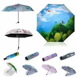 Fashion Folding Windproof Anti-UV Travel 3D Sun Rain Umbrell