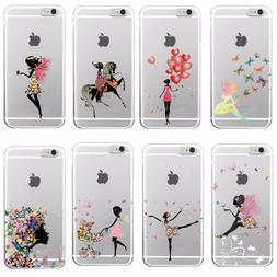 Fashion Girl Floral Balloon Yoga Soft Case Cover For iPhone