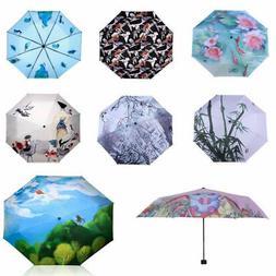 Fashion Sun Rain Umbrella Anti UV 3-Folding Umbrella Compact