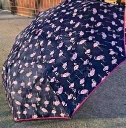 Vera Bradley FLAMINGO FIESTA Umbrella- auto open & close str