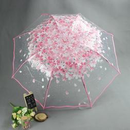 Floral Rain Umbrellas Three Folding Small Transparent Design