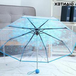 Flower Clear Transparent Umbrella Female Folding Umbrella Ra