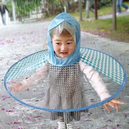 Foldable Cute Rain Coat UFO Children Umbrella Transparent Ha