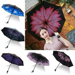 Folding Compact Umbrella Windproof Flower Rain Anti-UV Sun P