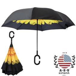 Folding Double Layer Inverted Umbrella Self Stand Umbrella W