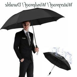 "Folding Golf Umbrella 58"" Windproof Double Canopy Vented Aut"