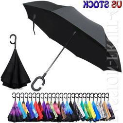 FOLDING INVERTED SUN/RAIN UMBRELLA DOUBLE LAYER UPSIDE DOWN