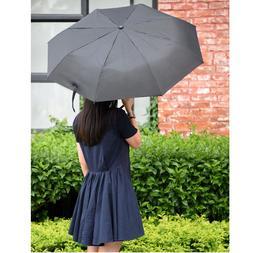 Large Folding Rain Umbrella Windproof Travel Compact Black A