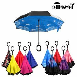 Folding Reverse Double Layer Inverted Windproof New Rain Car