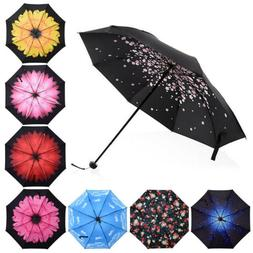 Folding Windproof Umbrella Flower Black Coated Anti-UV Sun R