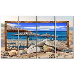 Design Art 'Framed Beach Umbrellas' 4 Piece Graphic Art on W