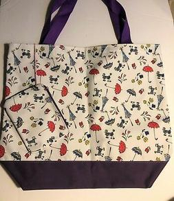 French Poodles Umbrellas Flowers Large Tote Bag Travel Bag W