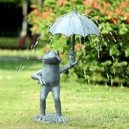 Frog With Umbrella Garden Spitter Sculpture Statue Pond Foun