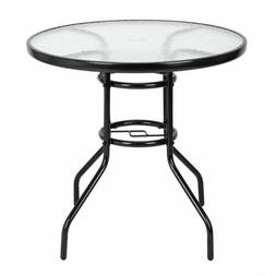 "Garden Table 32"" Patio Round Tempered Glass Top Dining Table"