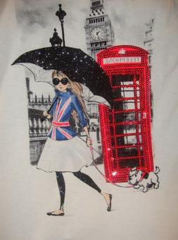JUSTICE~girl's~RED/SEQUIN/TELEPHONE/BOOTH/glitter/UMBRELLA/T