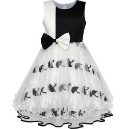 Girls Dress Bow Tie Black White Color Contrast Umbrella Sund