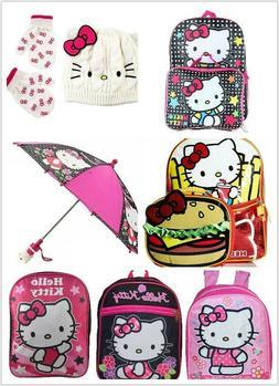 Hello Kitty Girls School Backpack , Umbrella , Beanie Hat &