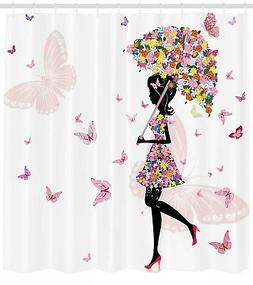 Girls Shower Curtain Floral Umbrella Dress Print for Bathroo
