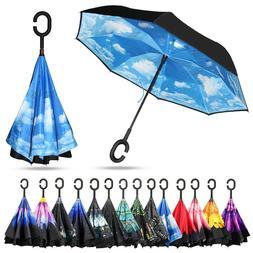 Hand-free C-Handle Double Layer Umbrella Windproof Inverted
