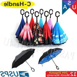 Hand-free C-Handle Reverse Umbrella Double Layer Upside Down