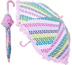 RainStoppers Girl's Heart Stripe Print Umbrella with Ruffle,