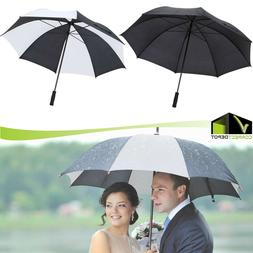 Heavy Duty 5 ft Golf Umbrella Black/White Polyester Fabric S