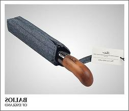 Herringbone Balios Compact Travel Umbrella Real Wood Handle