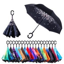 HOT Double Layer Upside Down Inverted Umbrella C-handle Reve