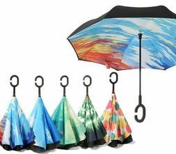 Inverted Anti UV Umbrella Starry Sky Double Layers Shield Re